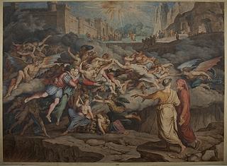 Dante og Virgil i Helvedes anden kreds, scene fra Den Guddommelige Komedie