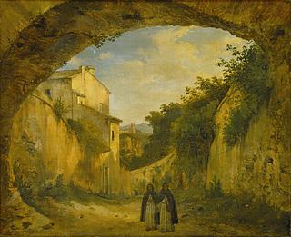 En vej ved Terni mellem havemure