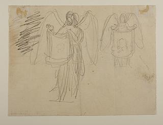 Engel der holder et klæde med portrætskitser, til ubekendt gravmæle