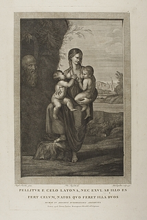 Latona stående med Apollon og Diana