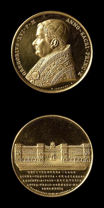 Medalje forside: Pave Gregor 16. Medalje bagside: Fabrica Nuova i Rom