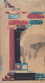 M. G. Bindesbøll: Farveprøve til polychrome portikus, 1837 - Copyright tilhører Kunstakademiets Bibliotek