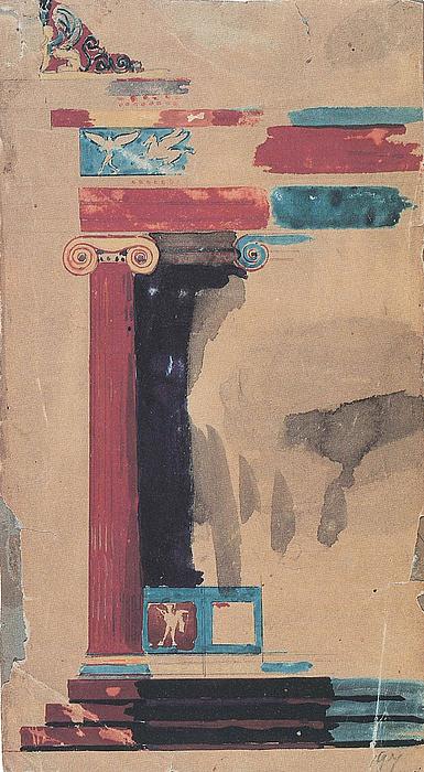 M.G. Bindesbøll: Farveprøve til polychrome portikus, 1837