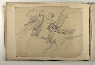 Kvindelig kentaur med lyre løfter en ung mand