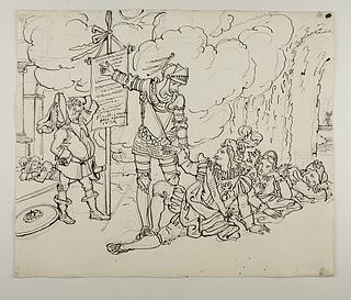 Don Quixote efter den falske flyvetur på træhesten Clavileño den Hurtige