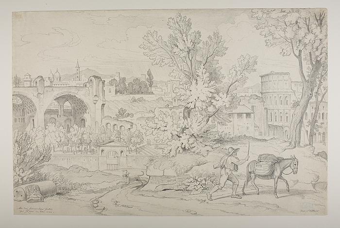 Udsigt til ruinerne af Constantins Basilika og Colosseum fra Palazzo Farneses haver