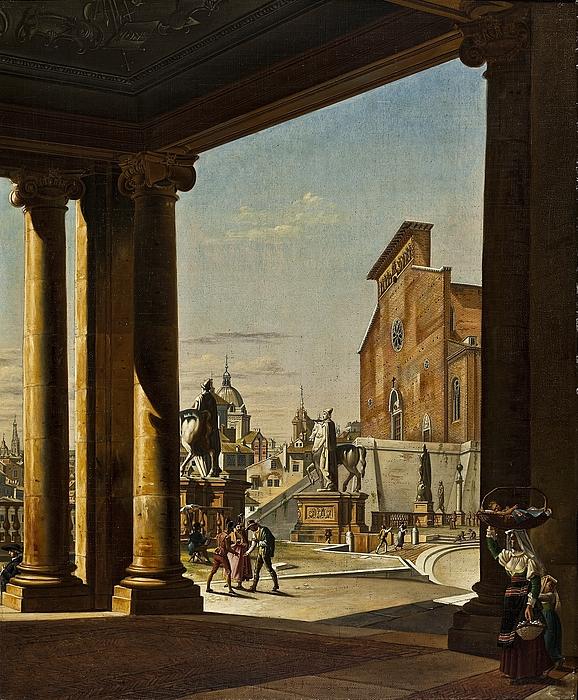 Kapitolium set fra kolonnaden på Konservatorpaladset i Rom