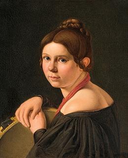 Albert Küchler: Marie Lehmann, f. Puggaard, som italienerinde med tamburin, u.å.