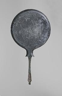 Spejl med Achilleus, Thetis, Athene og Automedon. Etruskisk