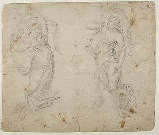 To svævende figurer, den ene med den efesiske Diana