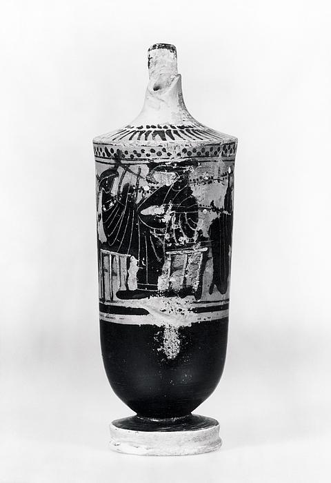 Lekyth med Dionysos og tre kvinder i symposionscene. Græsk