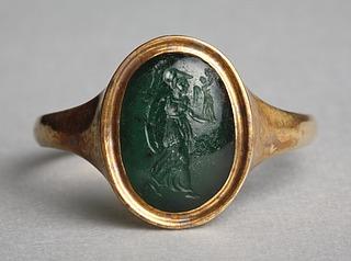 Athene, løbende med Nike. Hellenistisk-romersk ringsten