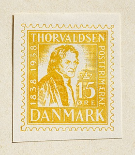 Prøvetryk af udkast til frimærke med Thorvaldsens portræt