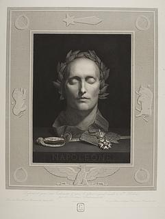 Napolen Bonaparte, dødsmaske med laurbærkrans, æreslegionens orden og kårde