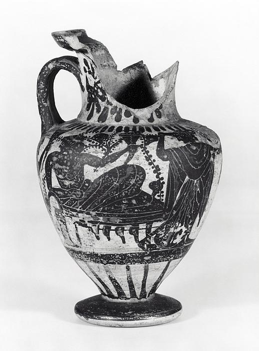 Amfora med Dionysos, silen og mænade (A) og to krigere i kamp (B). Græsk