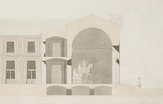 Udsnit af længdesnit fra Bindesbølls approberede tegninger, 1839