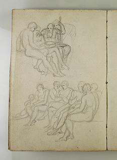 Gruppe af tre siddende mænd. Mænd der sidder på række