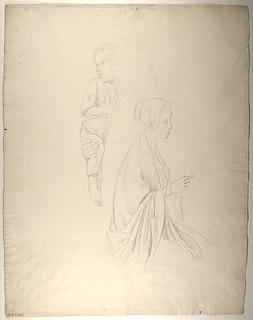 Barn på J.P. Møllers arm. Siddende kvinde