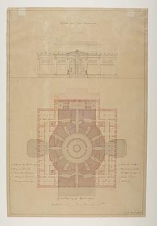 Thorvaldsens Museum, projekt med udgangspunkt i den ufuldendte Frederiks Kirke kaldt Marmorkirken, opstalt og plan