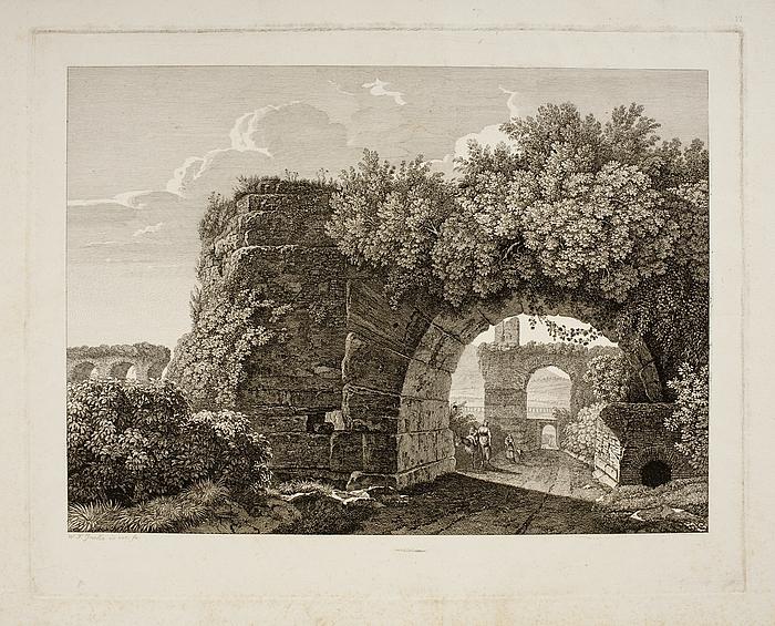 Veduta dei Condotti dell'Acqua Marzia, della Claudia, dell'Anio nuovo e dell'Anio vecchio a Tivoli ( Prospeket af Acqua Marcia i Tivoli )