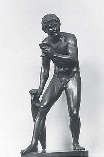 C.C. Peters: En faun der har stjålet vin, 1852, bronze, 66 cm, betegnet på fodstykket: CP. 1852, Ny Carlsberg Glyptotek, inv. nr. MIN 0406