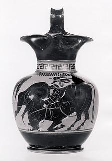 Oinochoe med Herakles og den kretensiske tyr. Græsk