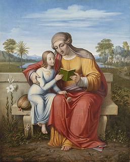 J.L. Lund: Sankt Anna lærer Jomfru Maria at læse, Thorvaldsens Museum