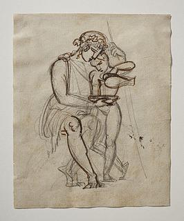 Satyr(?)dreng skænker for Bacchus