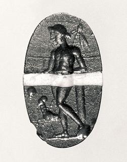 Dionysos med vindruer, thyrsosstav og en panter. Romersk republikansk paste