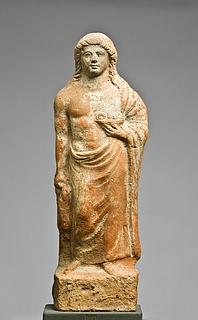 Statuette af en mand med en gris og en frugtskål. Vestgræsk