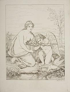 Venus lærer Amor at skyde med bue