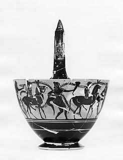 Kyathos med procession af silener og mænader på muldyr. Græsk