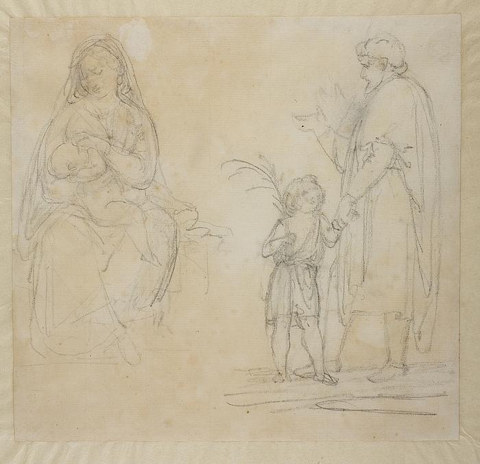 Maria med barnet. Mand og en dreng med en palmegren