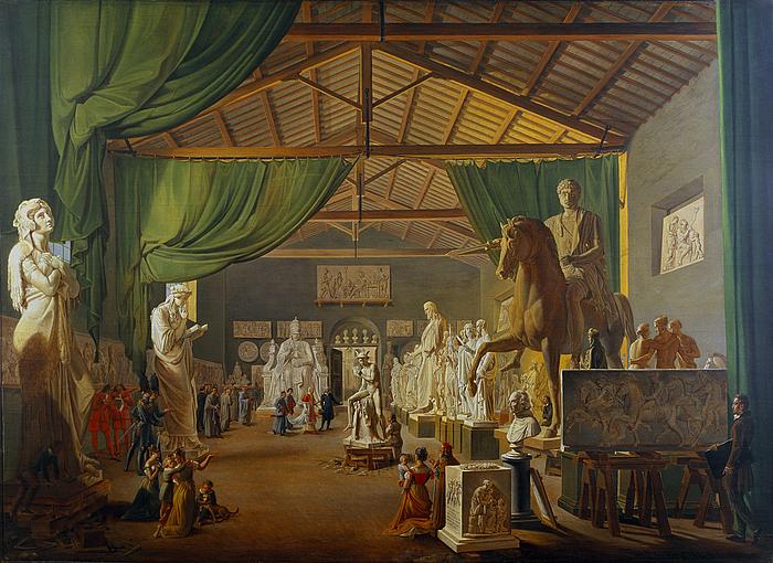Pave Leo 12. aflægger besøg i Thorvaldsens værksteder ved Piazza Barberini, 18. oktober 1826