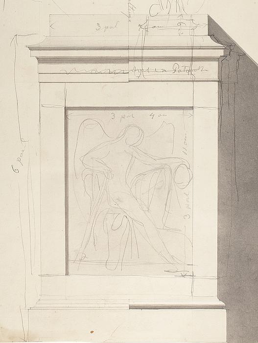 Sokkel til monumentet over grev Wlodzimierz Potocki med reliffet Dødens genius