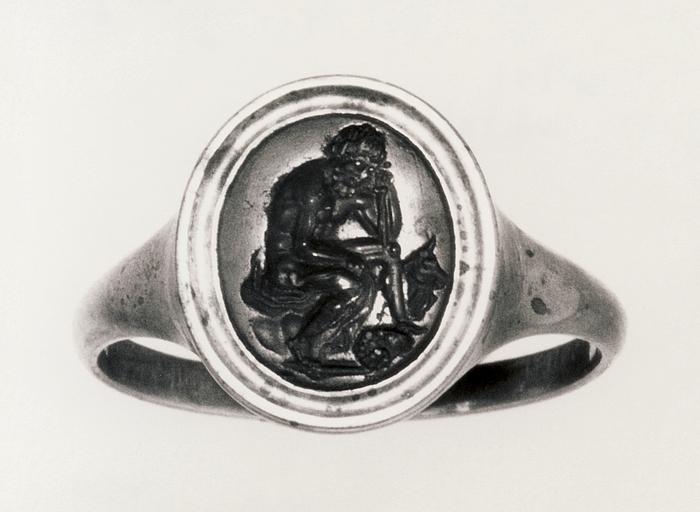 Ajax (?) siddende. Romersk republikansk ringsten