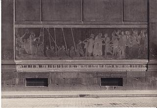 Ældre foto af detalje af kanalfacadens (nord-facadens) oprindelige frise fra 1848. (Thorvaldsens Museum)