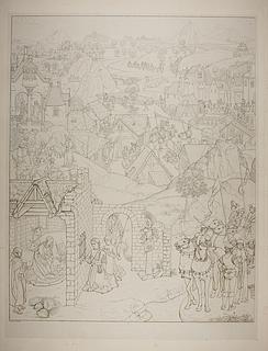 Scener fra Marias liv med stifteren Pieter Bultync og hans sønner, detalje fra Marias syv glæder