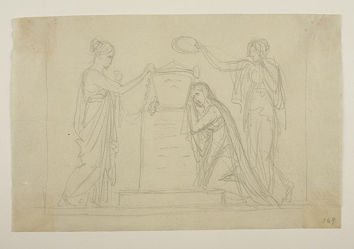 Tre kvinder ved en urne til ubekendt gravmæle