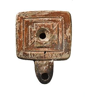 Lampe med indskrift: AMAIBA(I). Romersk