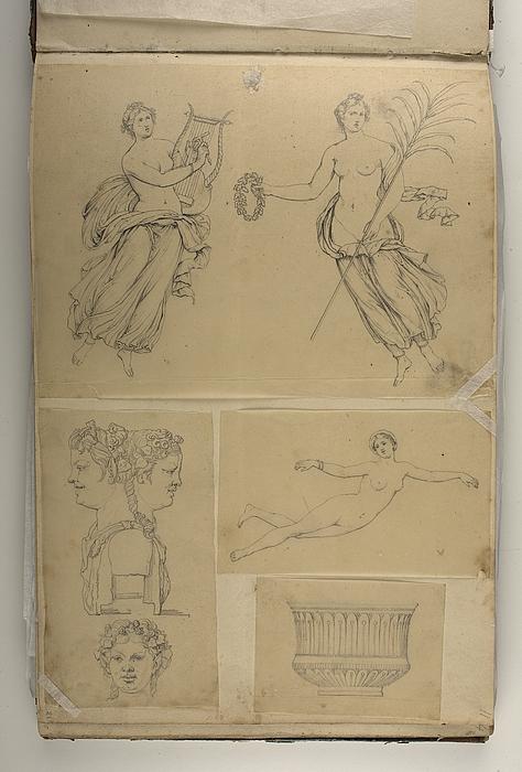 Svævende kvinde med lyre. Svævende kvinde med krans og palmeblad (?). Dobbelthoved-buste af en satyr og bacchantinde over et satyrhoved. Svævende nøgen kvinde. Skål