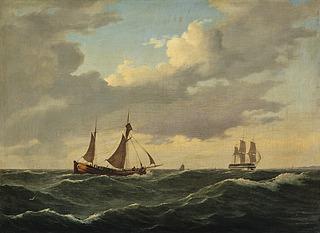 En hollandsk kuf og et linieskib i mærssejlskuling