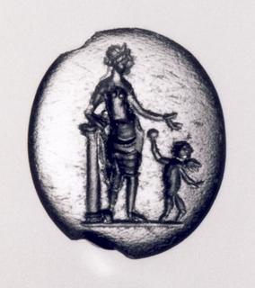 Eros, der holder et spejl op mod Afrodite. Hellenistisk-romersk ringsten