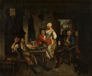 Scene i et skomagerværksted