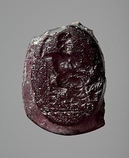 Zeus siddende med scepter og ørn. Hellenistisk-romersk paste