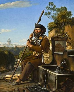En pilgrim hviler sig ved en fontæne i Via dell'Arco Scuro i Rom