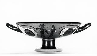 Kylix med øjne og krigere, der tager afsked (A,B) og gorgomaske (tondo). Græsk