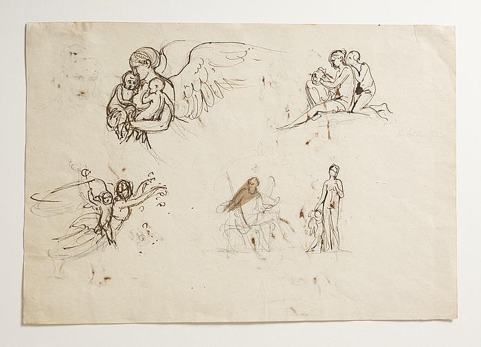 Natten. Kvinde fletter en krans. Dagen. Siddende mand (Anakreon?). Venus og Amor