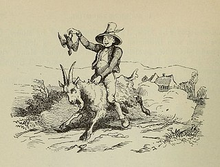 Vilhelm Pedersen, Klods-Hans, 1855, illustration i H.C. Andersen, Eventyr og Historier, 2. bind, p. 82