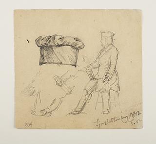 Joachim Ferdinand Richardt: Thorvaldsen med tegnebræt og pen, 1842 - Copyright tilhører Thorvaldsens Museum